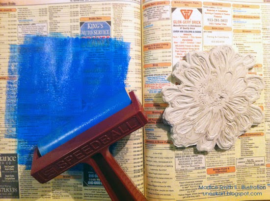 Martice Smith II's large flower stamp, tutorial; inking