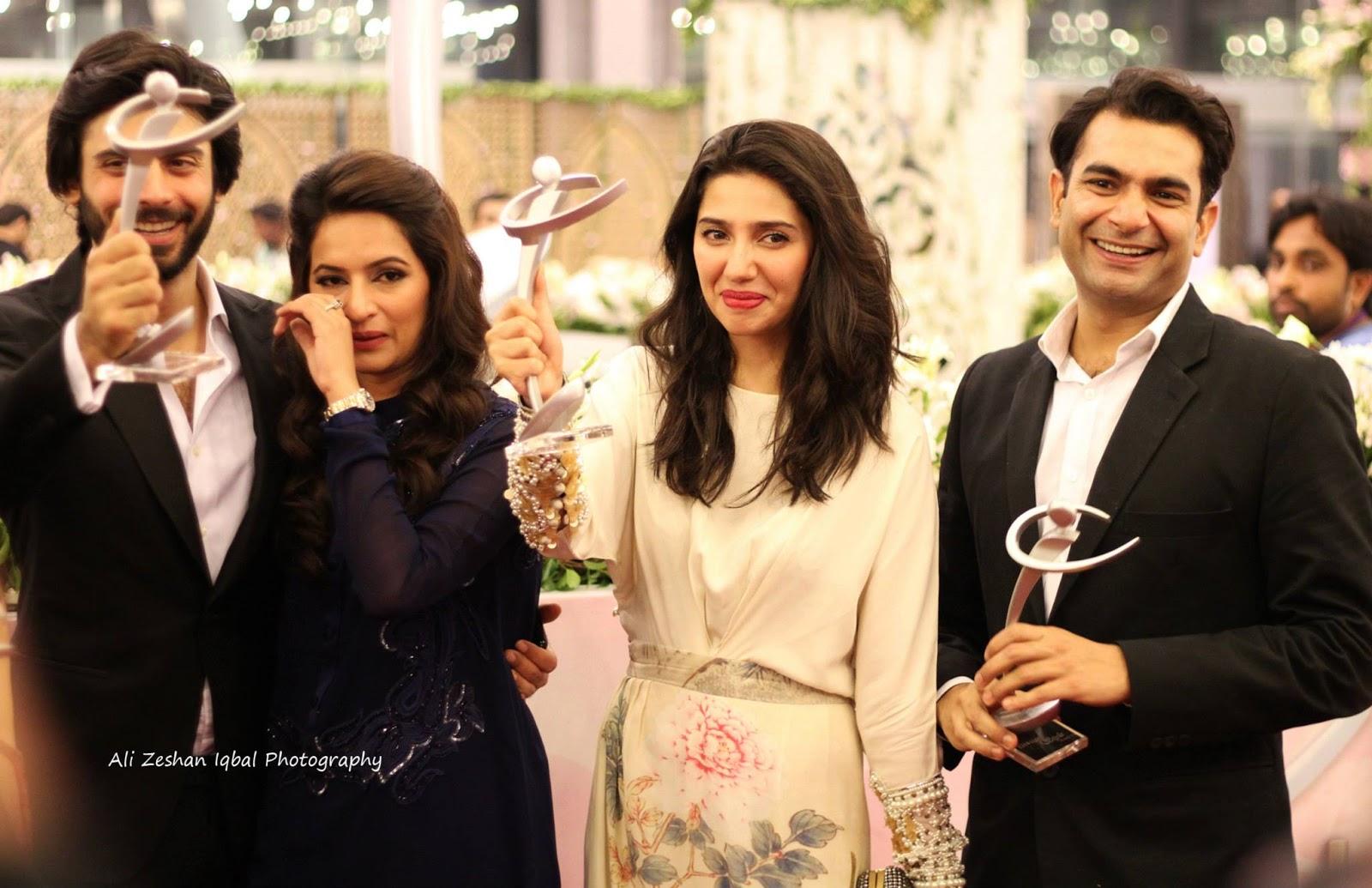 Fawad Khan with wife Sadaf  Mahira Khan  and Sarmad Khoosat at lux    Fawad Khan And Mahira Khan New Drama 2013