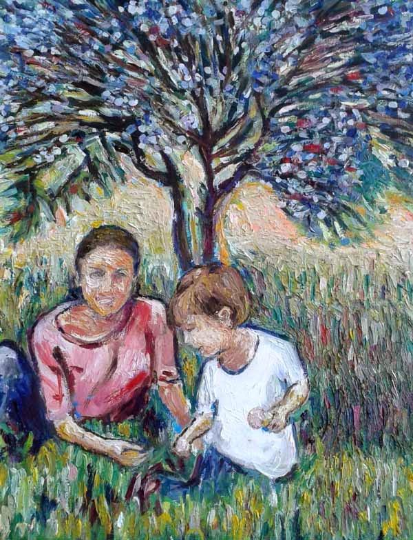 retrato de madre e hijo en el campo
