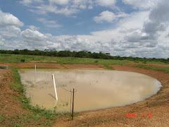 Barreiro com água na caatinga