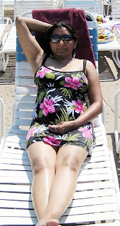 indian aunty at beach bikini