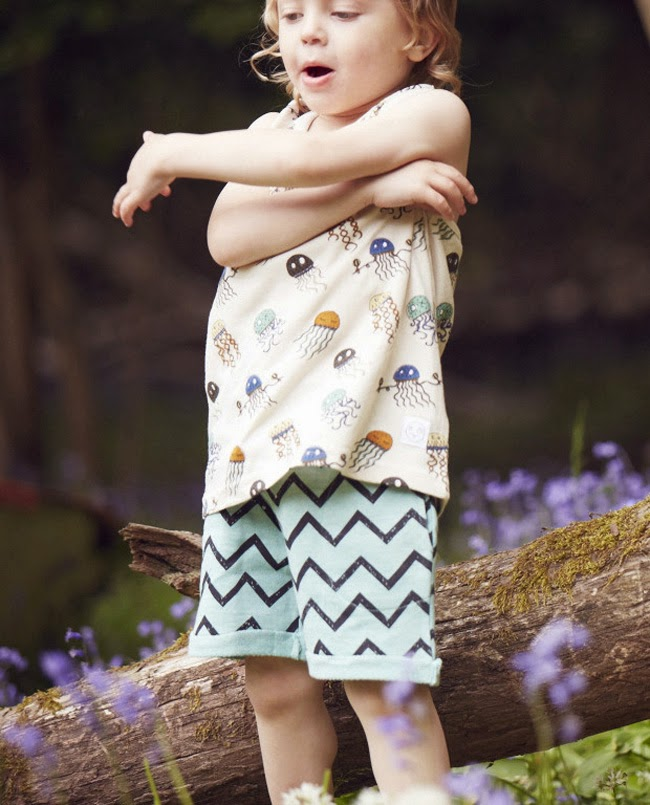 Cool kids outfit with jellyfish and zigzag shorts by Indikidual