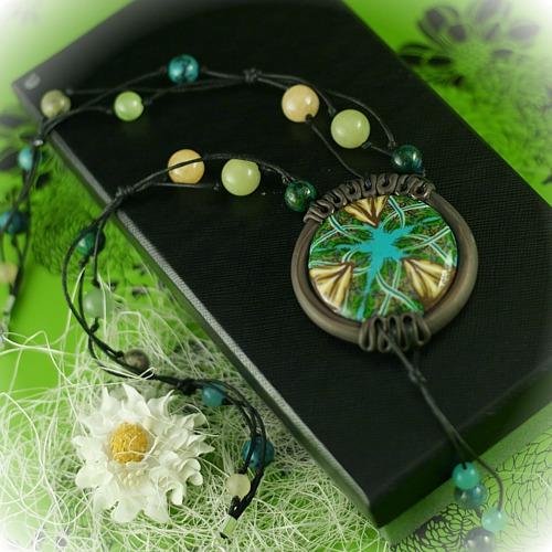 wisior z masy polimerowej fimo naszyjnik biżuteria kwiatowy polymer clay