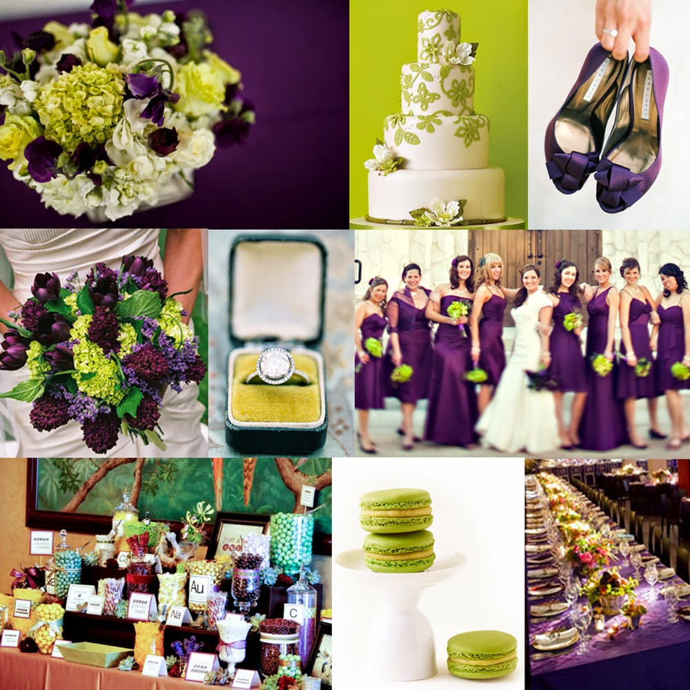 Bold purple and splashes of lime green