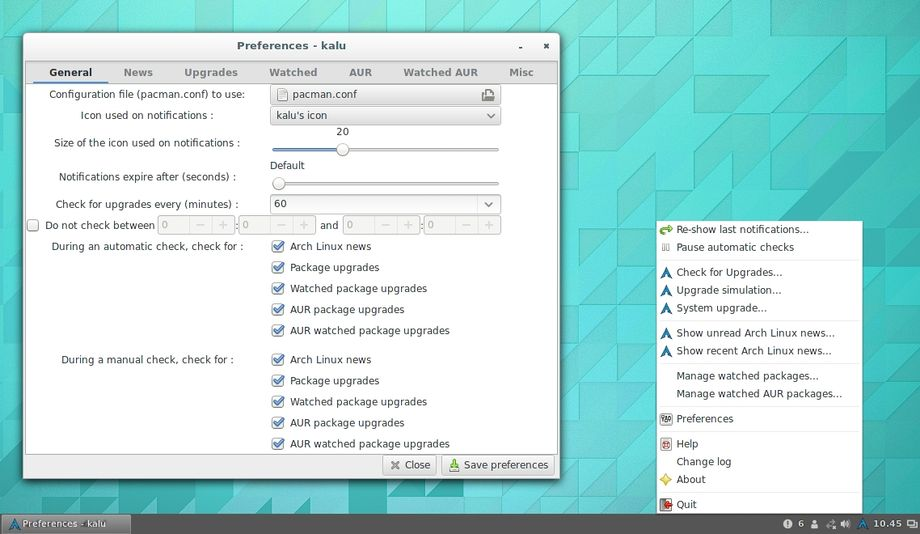 kalu in Arch Linux