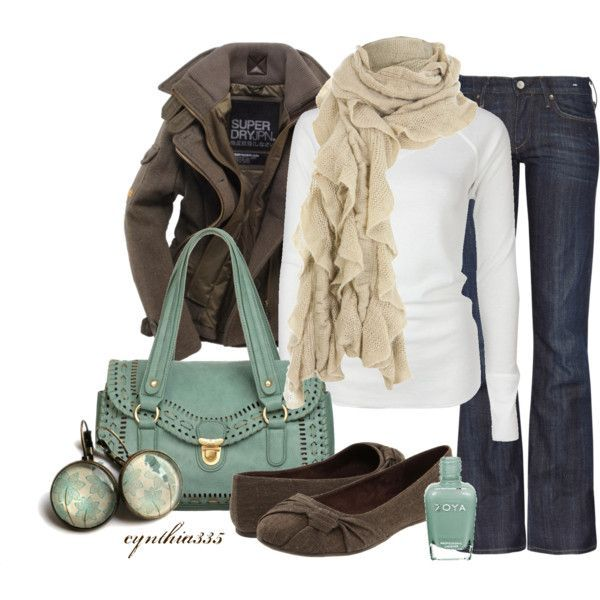 Brown jacket, white shirt, jeans, hand bag and shoes for ladies