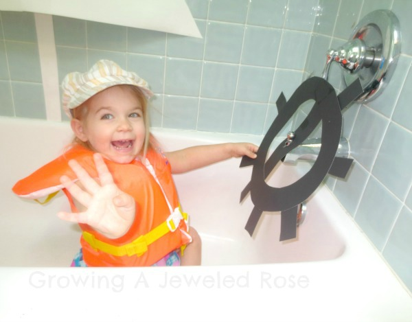 kids boating bath time fun