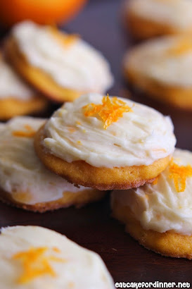 Carrot Cookies with Orange Cream Cheese Frosting
