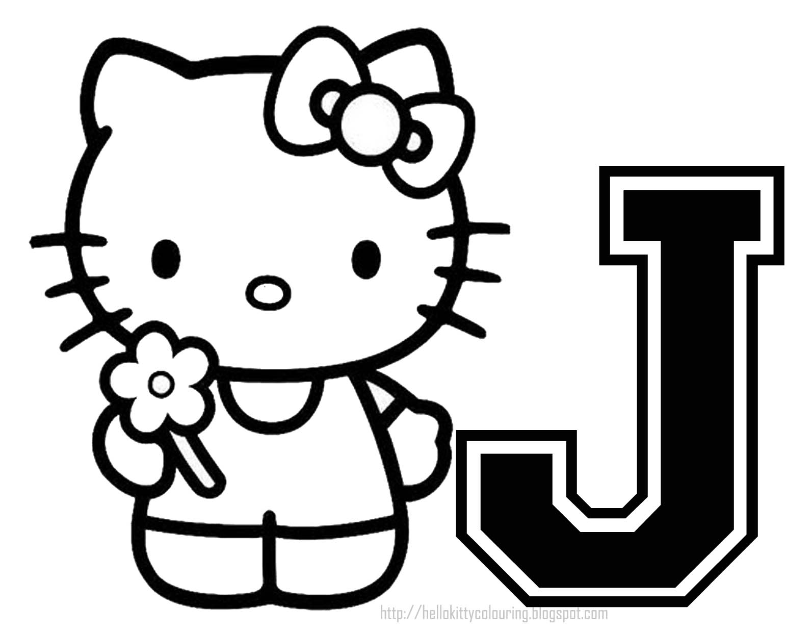 Personalized Coloring Page Initial Letter Hello Kitty Customized Coloring Pages