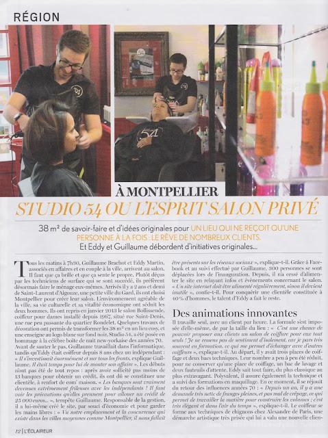 Page 12 du n° 640 du magazine L'Eclaireur du mardi 2 juin 2015, page consacrée au Studio 54, salon de coiffure à Montpellier, situé quartier Rondelet.