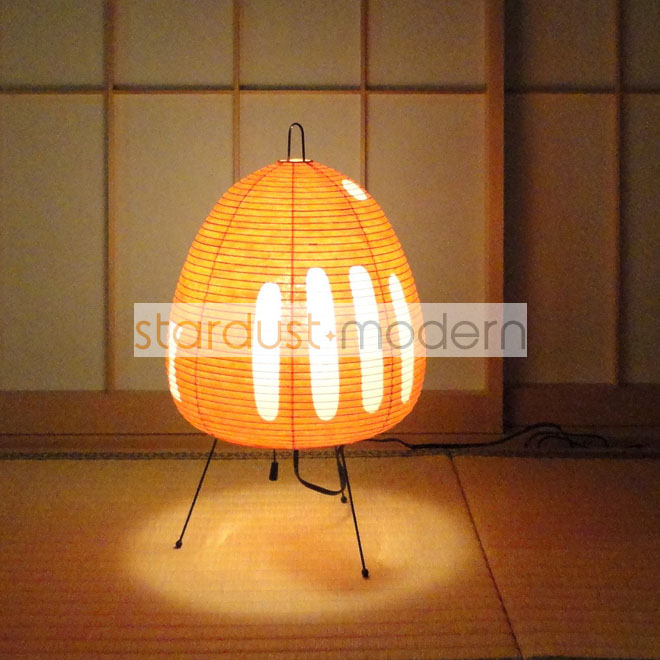 Rice Paper Table Lamp: Japanese Paper Table Lamps: Noguchi 1-AT Akari Table Lamp with Rice Paper  Shade, Orange,Lighting