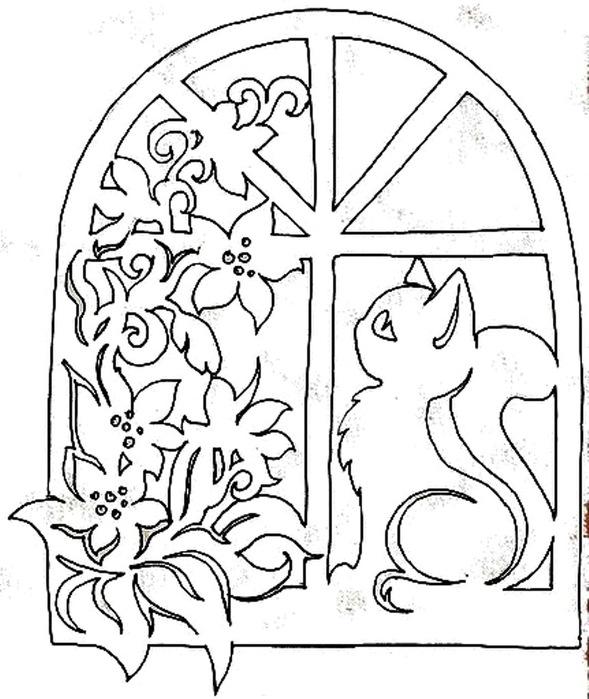 Трафареты для украшения окна на новый гЗадняя