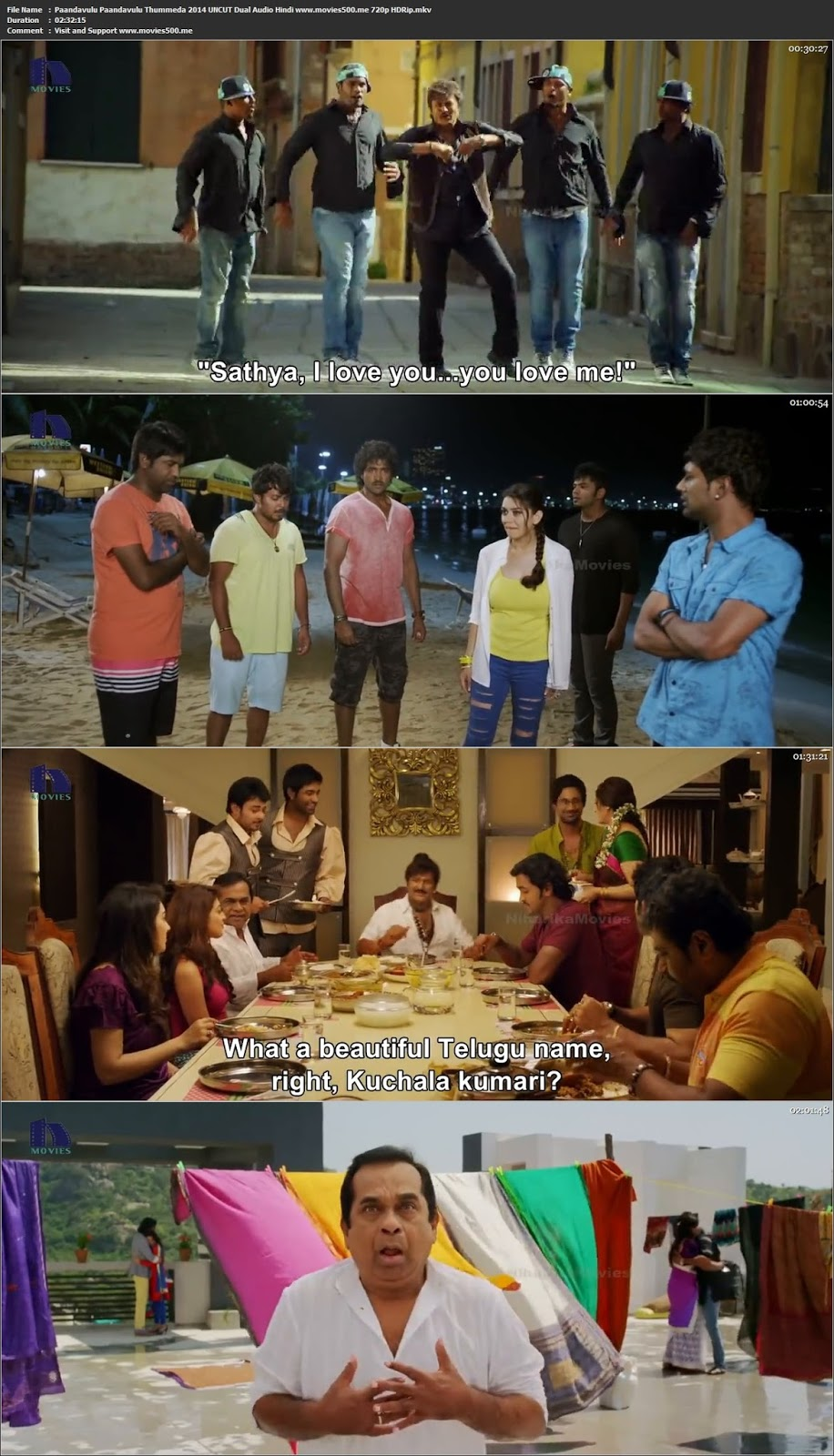 Paandavulu Paandavulu Thummeda 2014 UNCUT Dual Audio Hindi HDRip 720p at freedomcopy.com