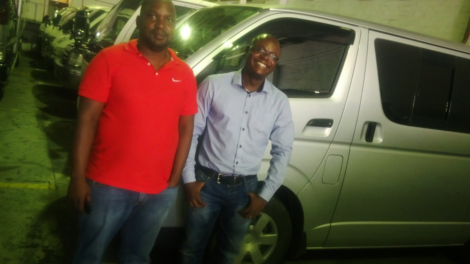 With Lebogang Busani From Botswana after He Bought A Used Japanese Toyota Hiace