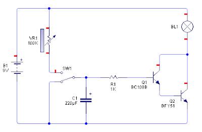 Rangkaian Timer dengan Transistor