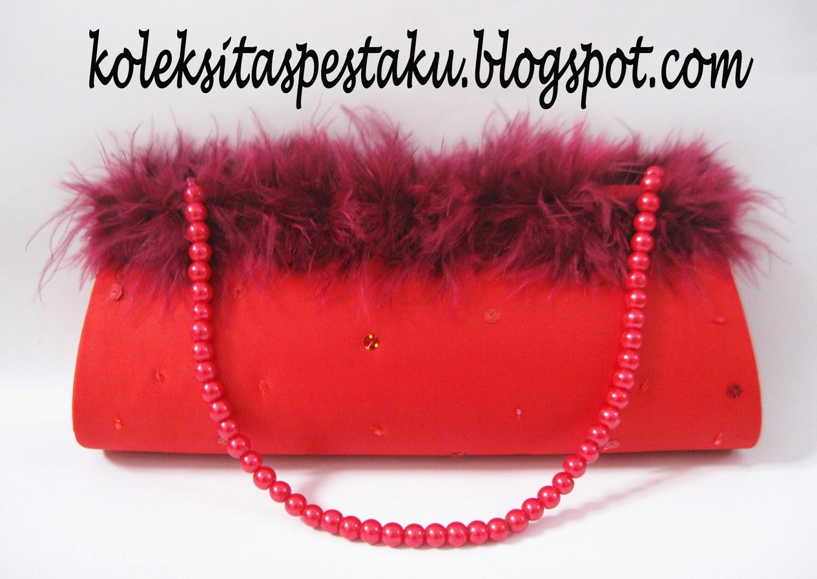 Tas Pesta Merah Maroon Bulu