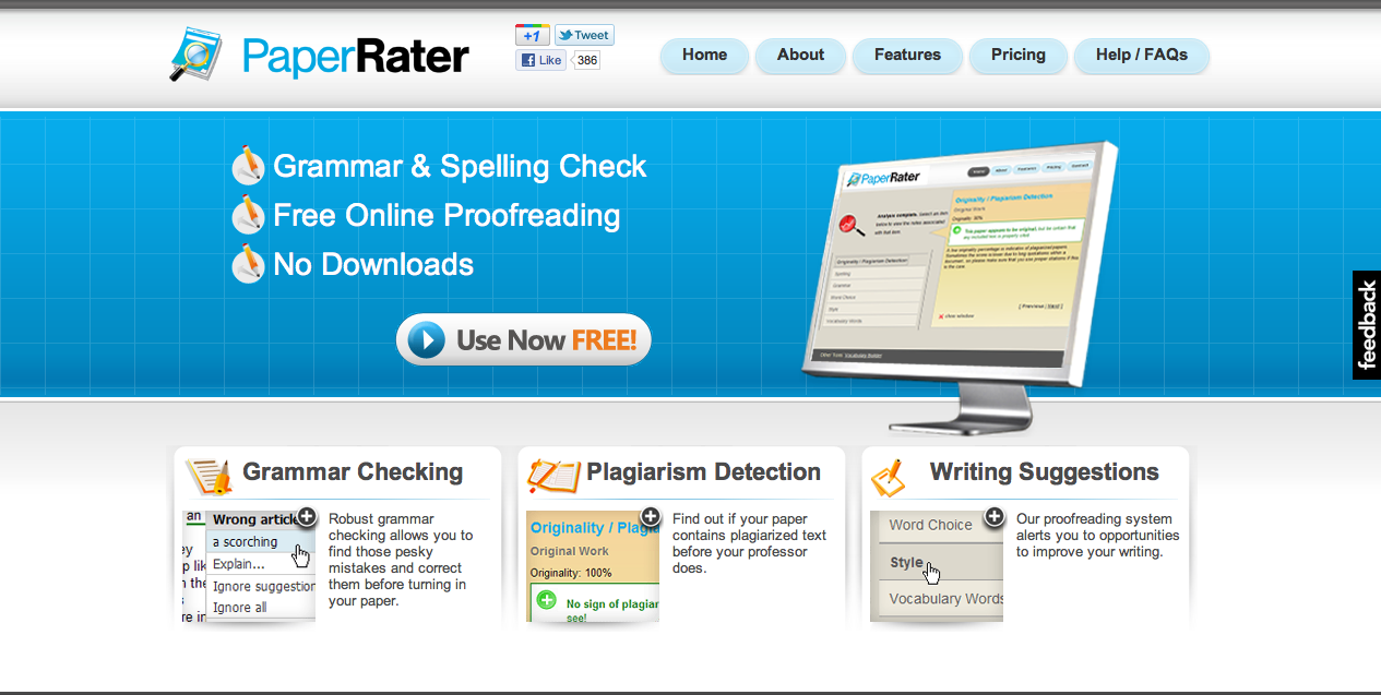 Paper rater: free online grammar checker, proofreader and