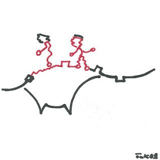 Zeichnung Bild / painting picture : Seiltanz / tightrope walking