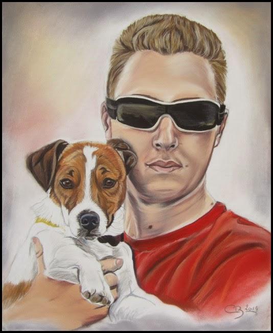 tableau maître et chien