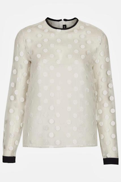sheer spot blouse