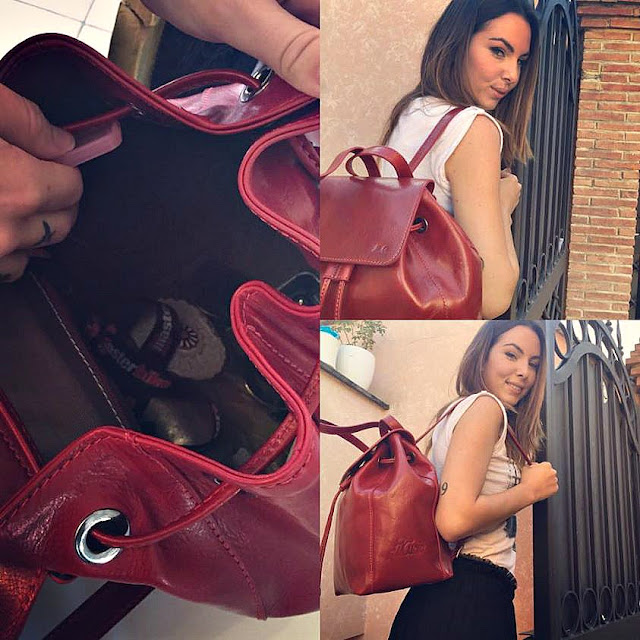 Micol Olivieri indossa una borsa Il Kuoio