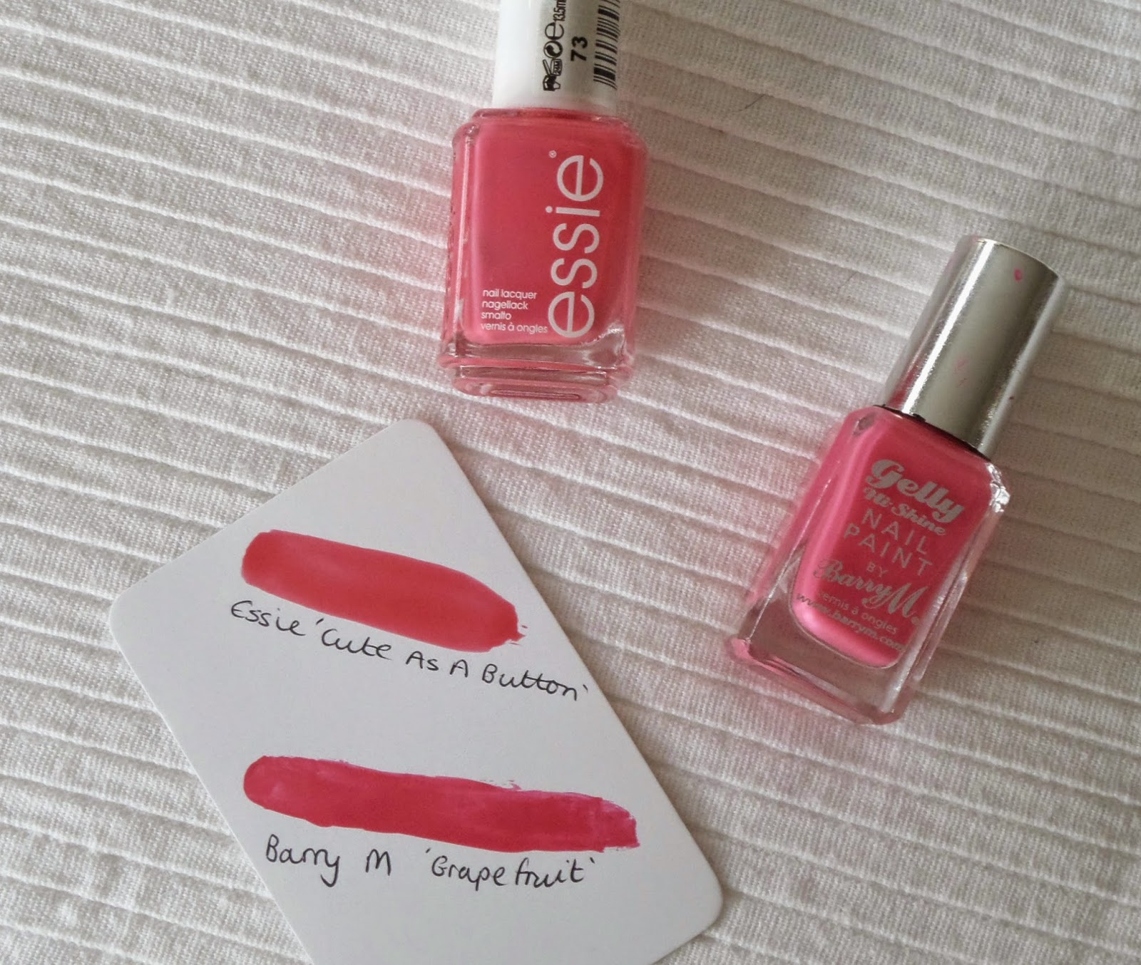 Spring and Summer Essie Dupes, Essie Cute as a Button, Barry M Grapefruit