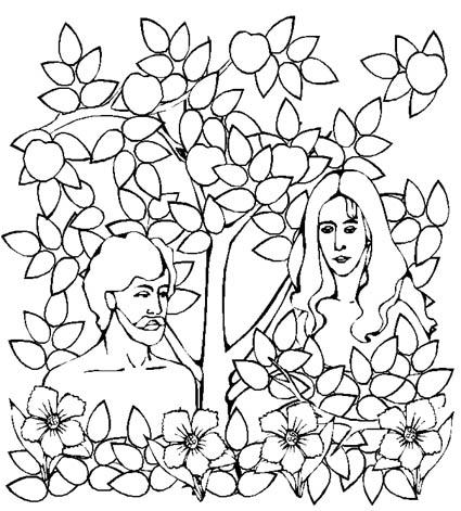 Dibujos De Ad  N Y Eva Escondidos Para Colorear