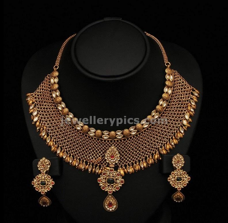 mesh gold necklace bridal set