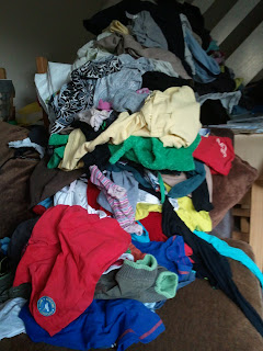 Pile of clothes for ironing