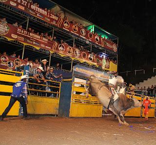 Cia de Rodeio Falcão-Peões tentam se equilibrar em cima dos touros. Rodeio chamou a atenção do público da Feport 2013