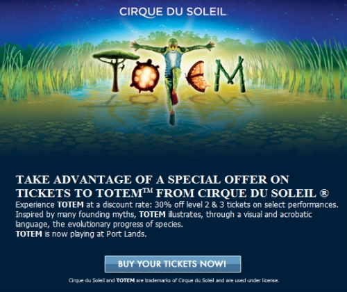 canadian daily deals cirque du soleil save 30 off level 2 3 discount tickets. Black Bedroom Furniture Sets. Home Design Ideas