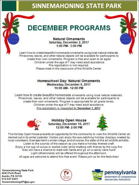 12-16 Events at Sinnemahoning State Park
