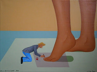A small man painting a ladies toe nails