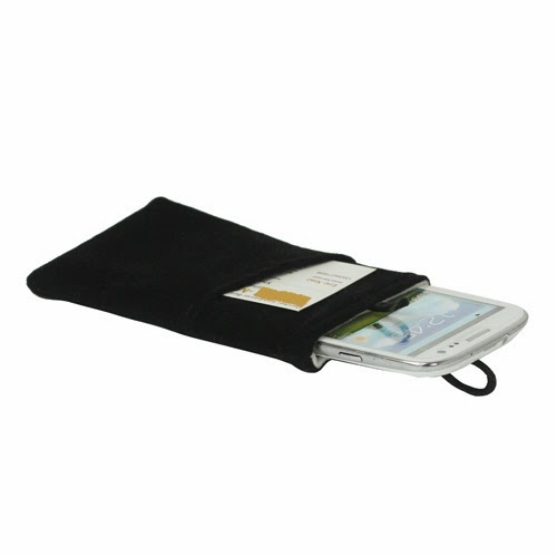 Universal Plush Pouch Bag with Button Closure for Samsung Galaxy S 3 III i9300 S 4 IV i9500 i9505, Size 13.8cm x 8.1cm - Black