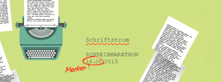 Schriftstrom - der Schreibmarathon für Autoren von Fieberherz! Sonntag, 16. August, 15 bis 22 Uhr.  Gestaltung © fieberherz.de