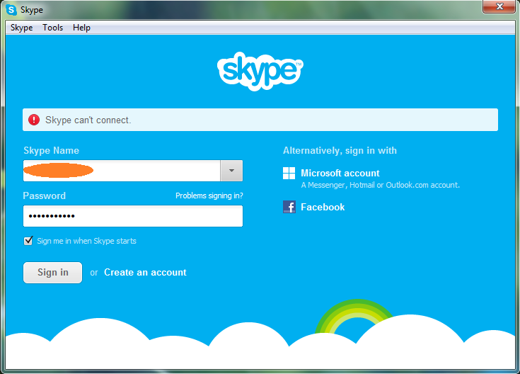 Fix skype can't connect solved