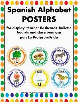 Spanish Alphabet Posters Notecards Flashcards Painted