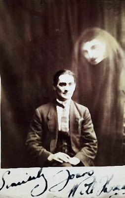 photo of a spirit at Spiritualist meeting