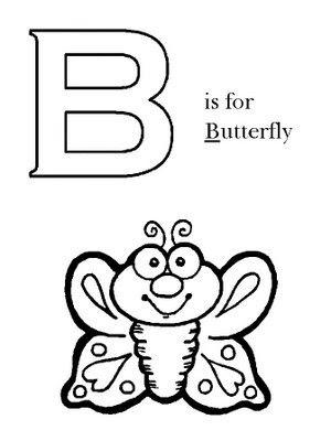 Letra B en ingles para colorear – Mariposa para colorear ~ 4 Dibujo