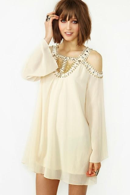 White Stoned Chiffon Dress
