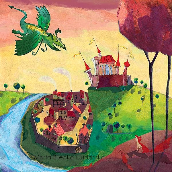 Smok Wawelski, legendy wawelskie, wawel, smok krakowski, smocza jama, Mateusz Świstak, Baśnie na Warsztacie, ilustracje baśni