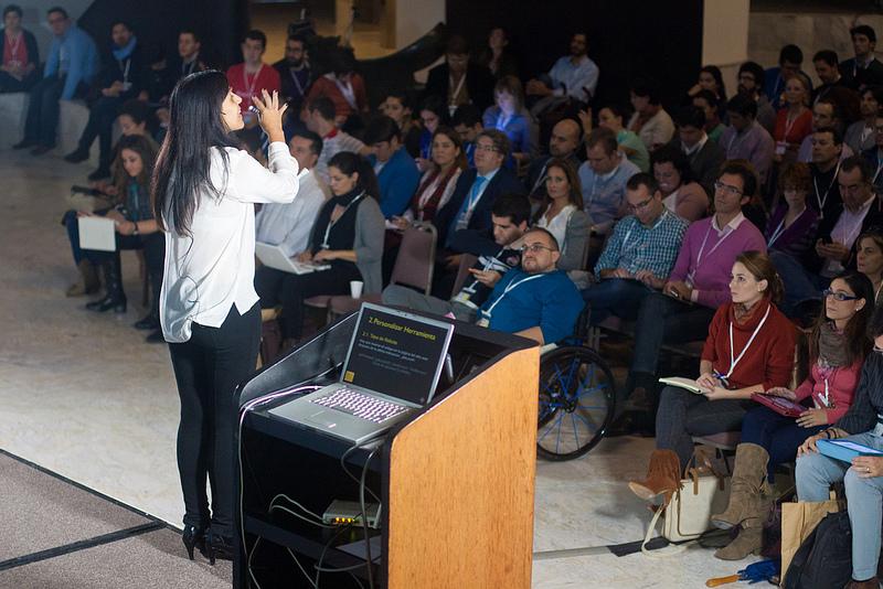 Gemma Muñoz durante su intervención en EBE12. Foto: Miguel Librero