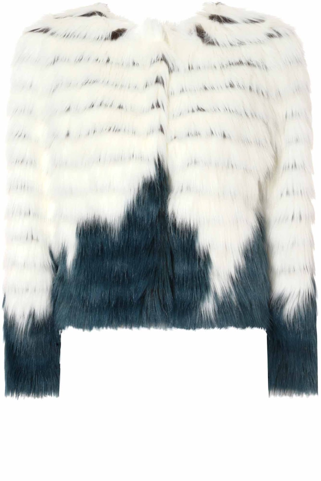 White & Petrol Blue Faux Fur Jacket - Glamorous.com