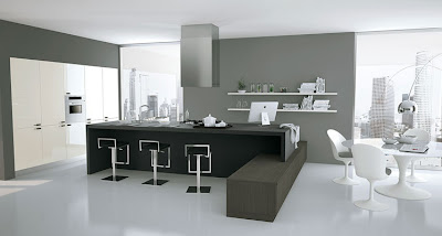 modern kitchen interior design in black and white
