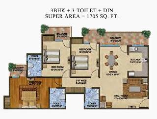 The Romano :: Floor Plans,Type B:-Super Area - 1705 Sq. Ft.