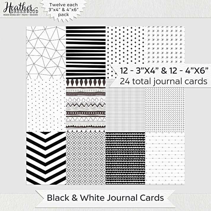 "Black and White Pocket Journal Cards and Filler Cards for Pocket Scrapbooking and Journaling Bible | 3""x4"" and 4""x6"" Journal Cards by Heather Greenwood Designs"