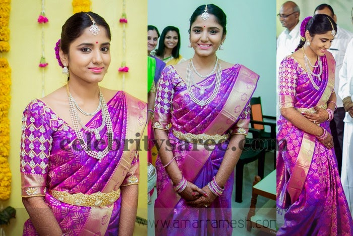 Purple Color Silk Zari Saree