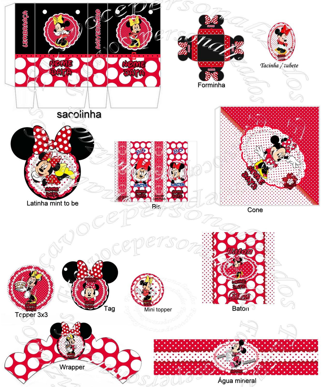Kit Festa Minnie Vermelha Personalizado Para Imprimir