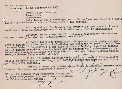 Carta de Josep Argemí a Ángel Ribera, 1951