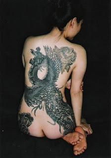 Japanese Tattoo Artwork - Tattooed Lady with back and butt tattoo